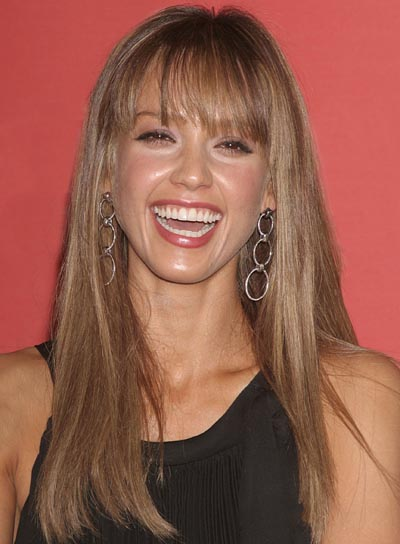 Jessica Alba Long Hairstyle with Bangs