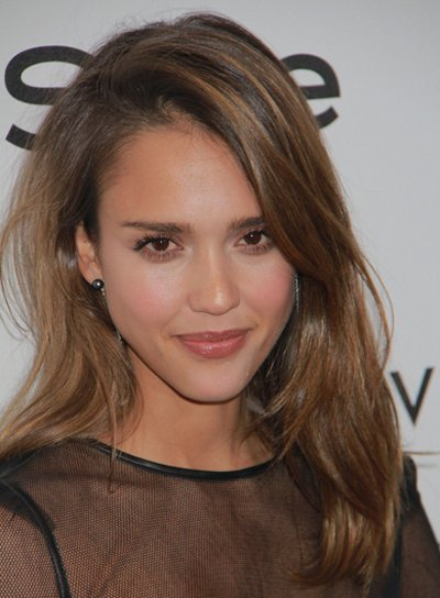 Jessica Alba Tousled, Medium, Layered, Brunette Hairstyle with Highlights