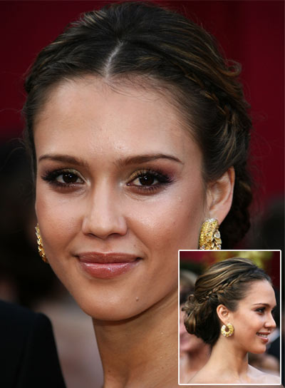 Jessica Alba Chic, Sophisticated Updo with Braids and Twists