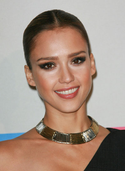 Jessica Alba Straight, Sophisticated, Chic, Brunette Updo