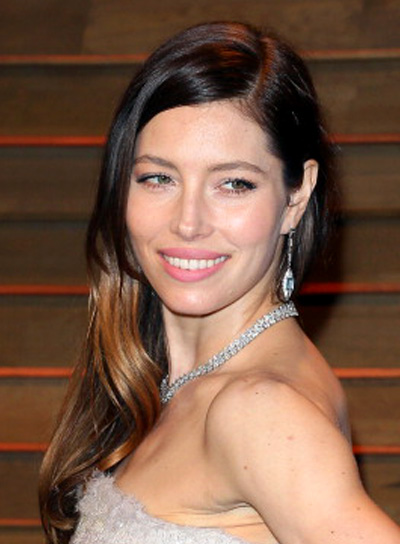 Jessica Biel with a Long, Brunette, Wavy, Romantic Hairstyle