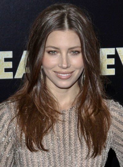 Jessica Biel Long, Layered, Sexy, Tousled, Brunette, Party Hairstyle