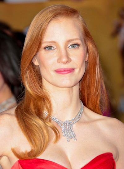 Jessica Chastain's Red, Romantic, Wavy, Formal Hairstyle
