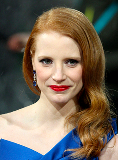Jessica Chastain's Red, Wavy, Long, Formal Hairstyle