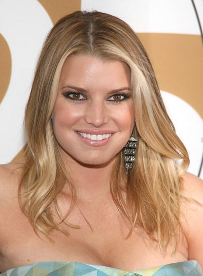 Jessica Simpson Medium, Wavy, Blonde Hairstyle