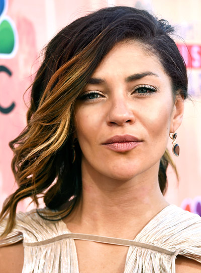 Jessica Szohr with a Medium, Tousled, Brunette, Bob Hairstyle