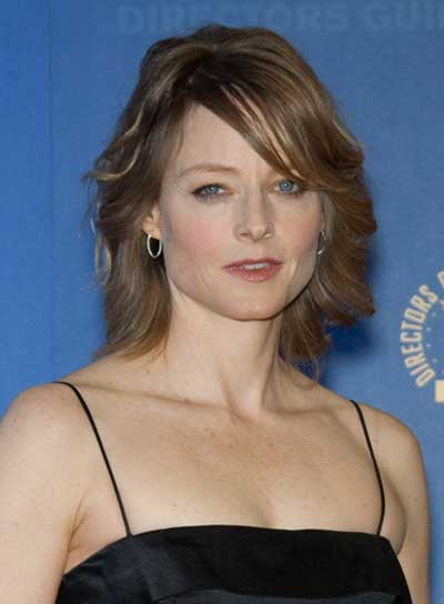 Jodie Foster Short, Sexy, Tousled, Brunette Hairstyle with Bangs