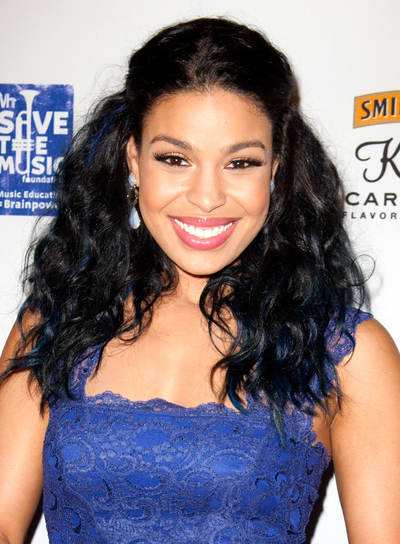 Jordin Sparks' Long, Wavy, Black, Half Updo Hairstyle