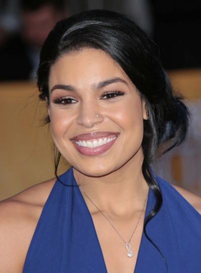 Jordin Sparks' Tousled, Black, Wavy, Updo Hairstyle