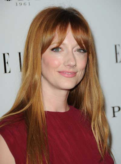 Judy Greer Long, Straight, Red, Hairstyle with Bangs