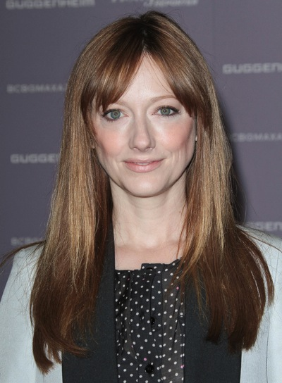 Judy Greer Long, Straight, Layered, Chic, Red Hairstyle with Bangs