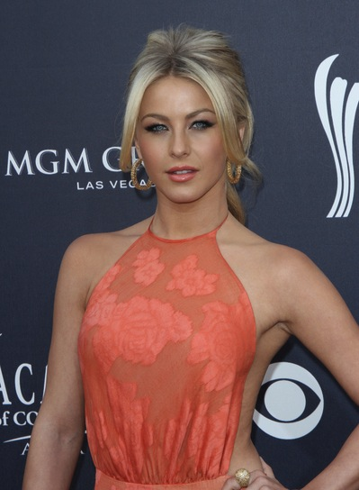 Julianne Hough Romantic, Blonde, Prom Ponytail with Bangs