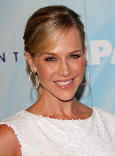 Julie Benz Chic, Blonde Ponytail with Bangs and Highlights