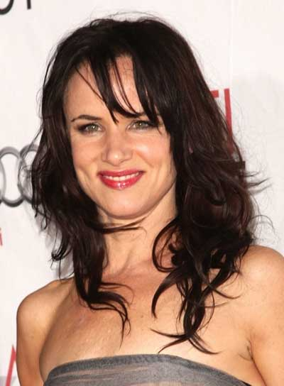Juliette Lewis Medium, Wavy, Tousled, Brunette Hairstyle with Bangs