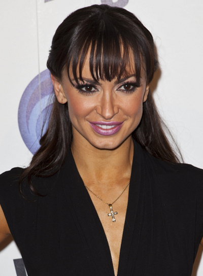 Karina Smirnoff Long, Straight, Sophisticated, Brunette Hairstyle with Bangs