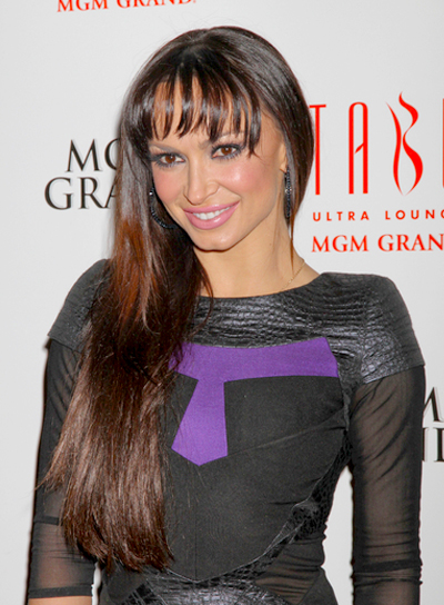 Karina Smirnoff's Long, Straight, Brunette Hairstyle with Bangs