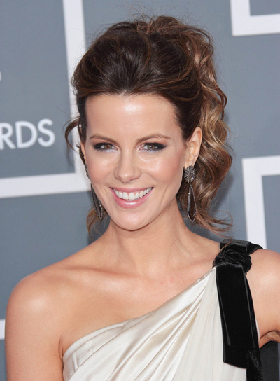 Kate Beckinsale Curly, Chic, Formal, Party, Prom, Brunette Ponytail