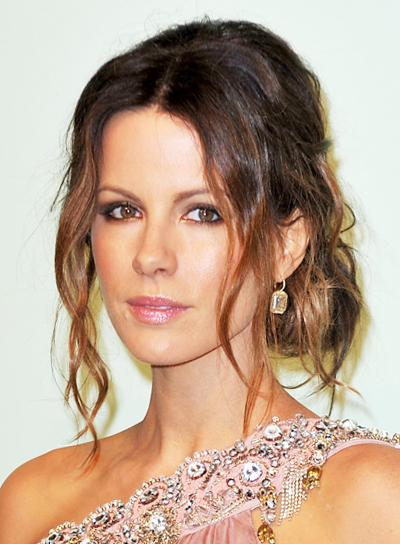 Kate Beckinsale Romantic, Tousled, Curly, Formal, Brunette Updo