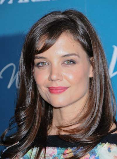 Katie Holmes Medium, Layered, Brunette Hairstyle with Bangs