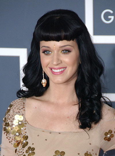 Katy Perry Black, Curly Hairstyle with Bangs
