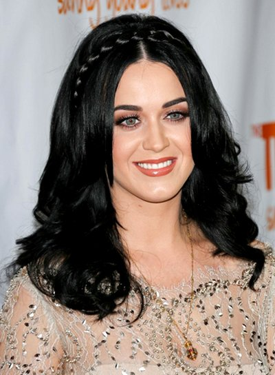 Katy Perry's Long, Romantic, Black Hairstyle with Braids and Twists