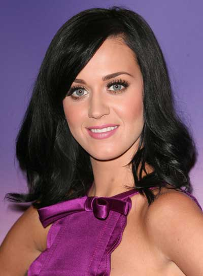 Katy Perry Medium, Black Hairstyle with Bangs