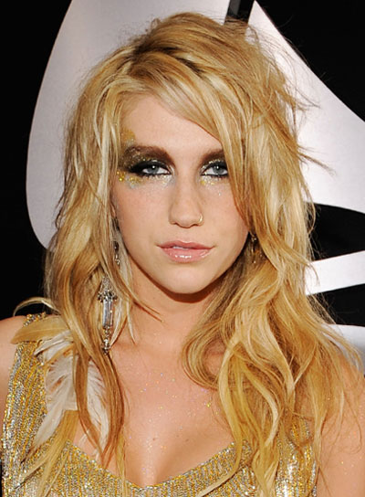 Ke$ha Blonde, Wavy, Tousled Hairstyle