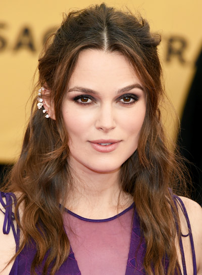 Keira Knightley with a Long, Brunette, Tousled, Edgy Hairstyle Pictures