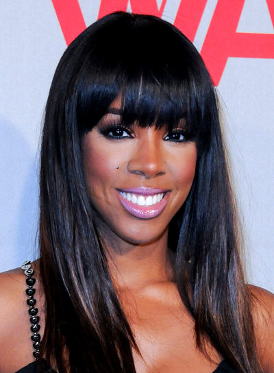 Kelly Rowland's Black, Chic, Straight Hairstyle with Bangs