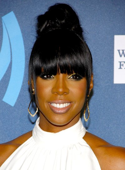 Kelly Rowland's Chic, Black, Updo Hairstyle with Bangs