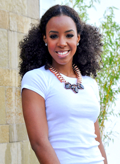 Kelly Rowland's Funky, Curly, Black, Updo Hairstyle