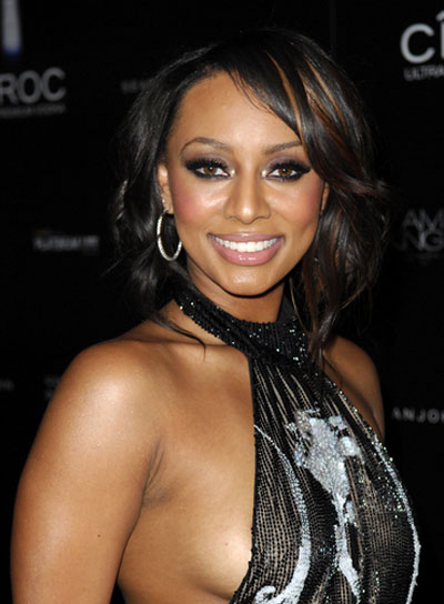 Keri Hilson Medium, Romantic, Wavy, Black Hairstyle with Highlights