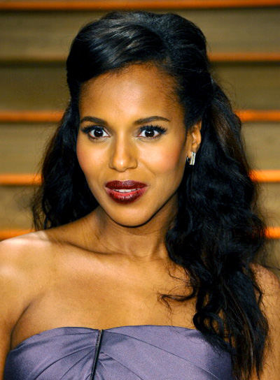 Kerry Washington with a Long, Curly, Black, Sophisticated Hairstyle