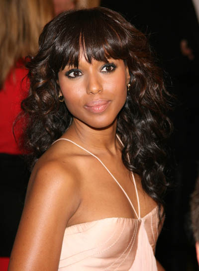 Kerry Washington Long, Wavy, Black Hairstyle with Bangs