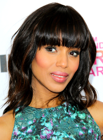Kerry Washingtons Medium Wavy Tousled Hairstyle With Bangs