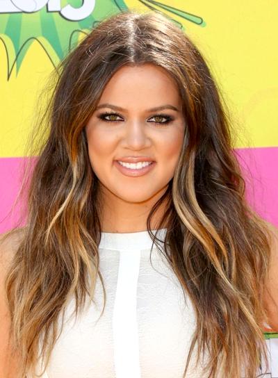 Khloe Kardashian's Long, Brunette, Tousled, Wavy Hairstyle