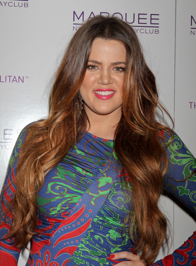 Khloe Kardashian Long, Layered, Wavy, Brunette Hairstyle with Highlights