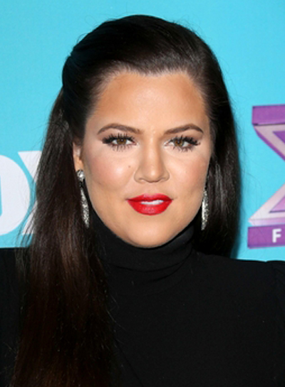 Khloe Kardashian's Long, Straight, Sophisticated, Half Updo Hairstyle