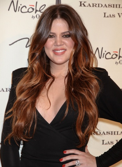 Khloe Kardashian Long, Wavy, Sexy, Red Hairstyle