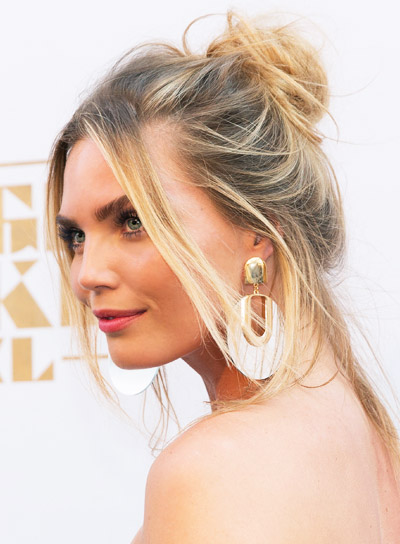Kim Feenstra's Long, Blonde, Straight, Edgy, Half Updo Hairstyle
