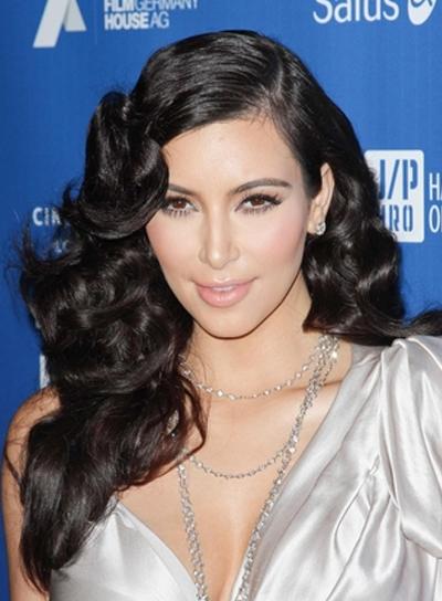 Kim Kardashian Long, Curly, Romantic, Sophisticated, Black Hairstyle