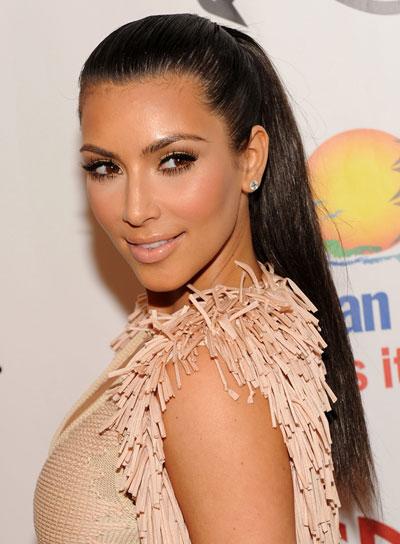 Kim Kardashian Long, Straight, Sophisticated Ponytail