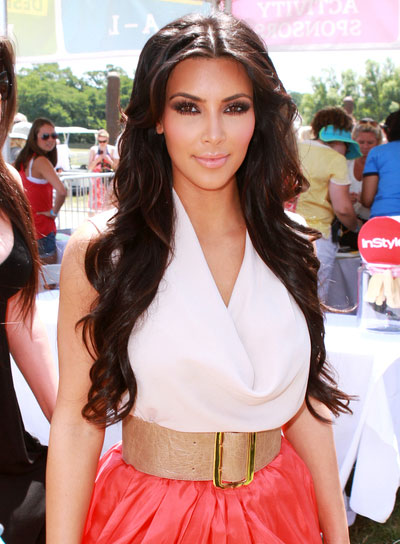 Kim Kardashian Long, Wavy, Brunette Hairstyle
