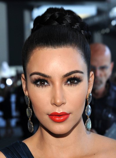 Kim Kardashian Sophisticated, Black Updo with Braids and Twists