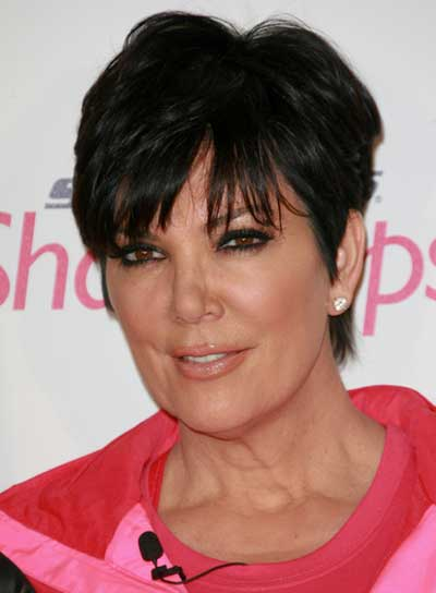 Kris Jenner Short, Black, Straight Hairstyle with Bangs