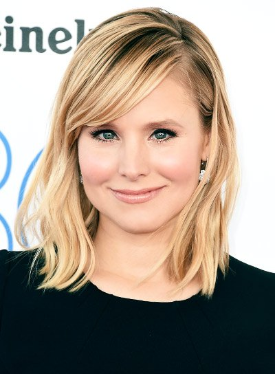 Kristen Bell Medium, Straight, Blonde, Sexy Hairstyle