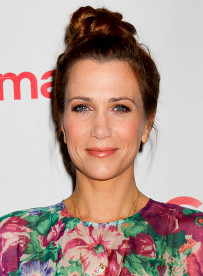 Kristen Wiig's Red, Romantic, Updo Hairstyle with Braids