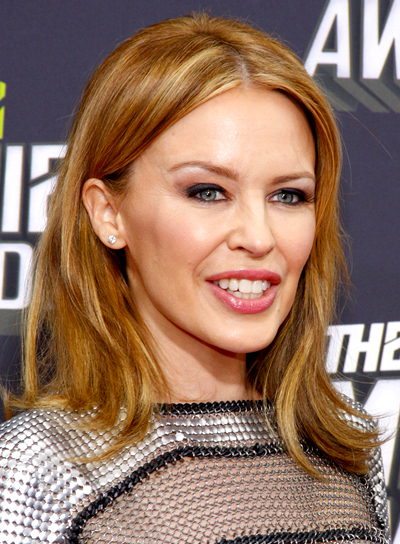 Kylie Minogue's Medium, Straight, Chic, Brunette Hairstyle