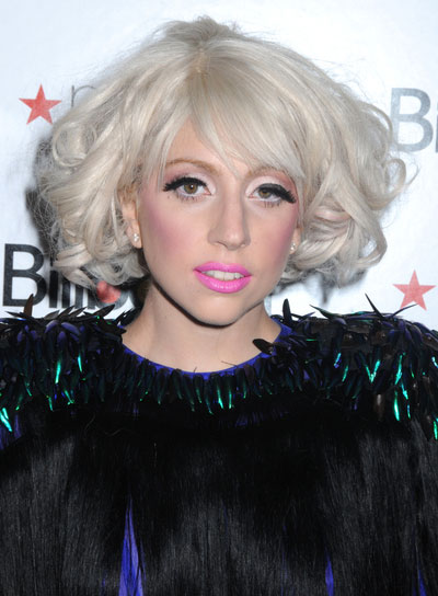 Lady Gaga Curly, Blonde Bob with Bangs