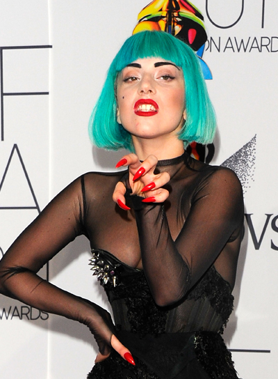 Lady Gaga Short, Straight, Funky Hairstyle with Bangs